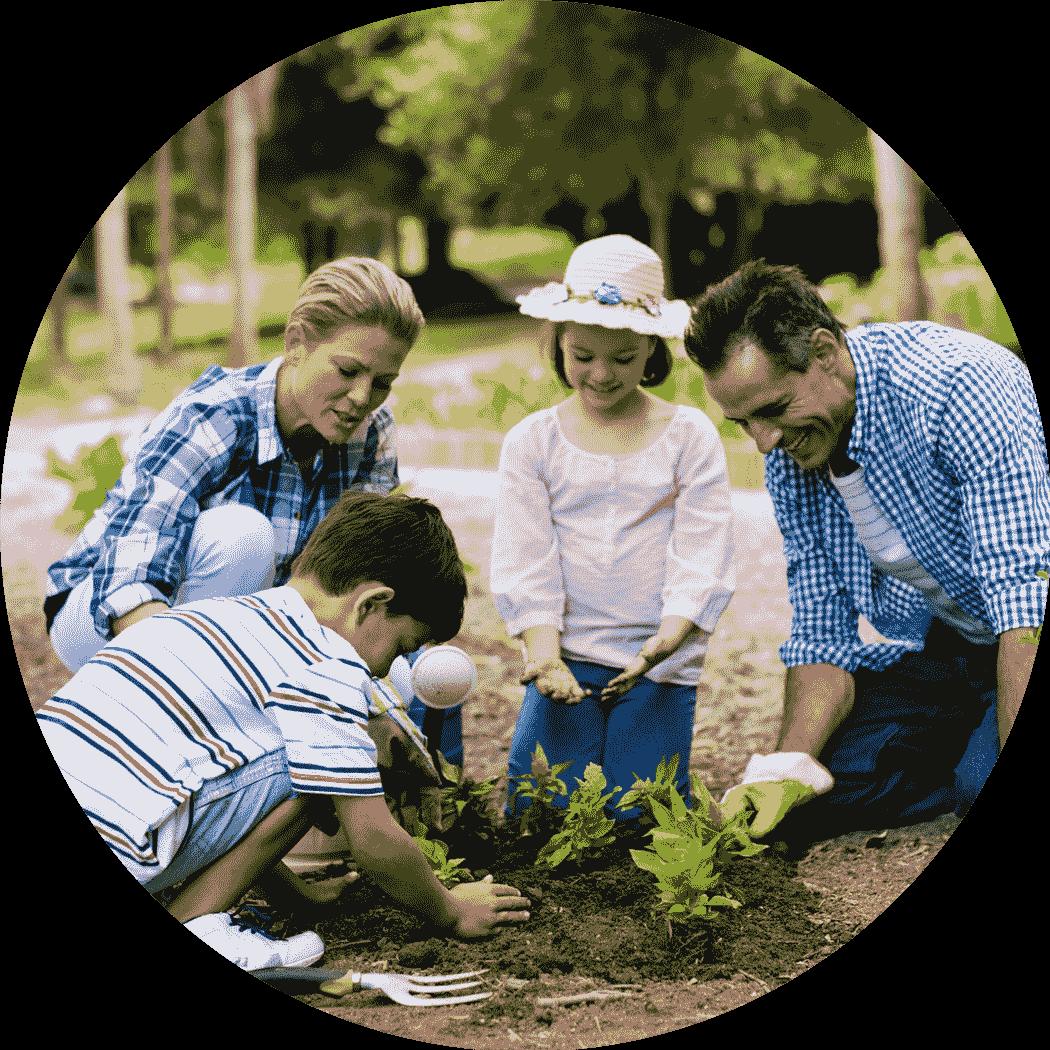 Familia plantando y generando energía con placas solares